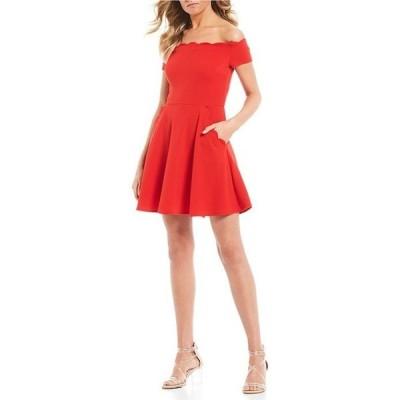 ビーダーリン レディース ワンピース トップス Scalloped Off-The-Shoulder Fit-And-Flare Dress