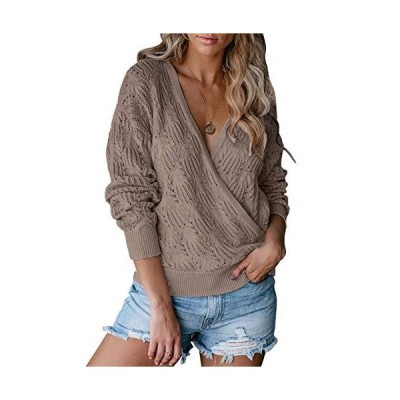 TECREW Womens Deep V Neck Wrap Knit Sweaters Loose Crochet Long Sleeve Pull
