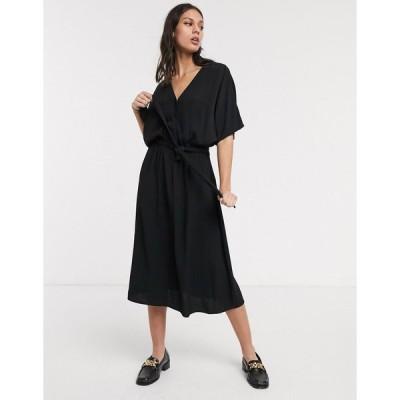 セレクテッド ミディドレス レディース Selected Femme midi wrap dress with kimono sleeve in black エイソス ASOS ブラック 黒