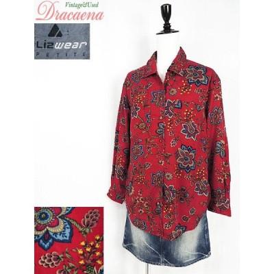 レディースシャツ古着 Liz Wear リズウェア レトロ 花柄 総柄 赤ベース レーヨン 長袖 シャツ S 古着