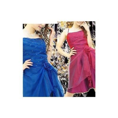 石付タックコサージュ装飾オーガンジーフレアデザインドレス