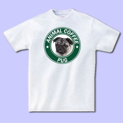 名入れ文字入れアニマルコーヒーTシャツ パグ