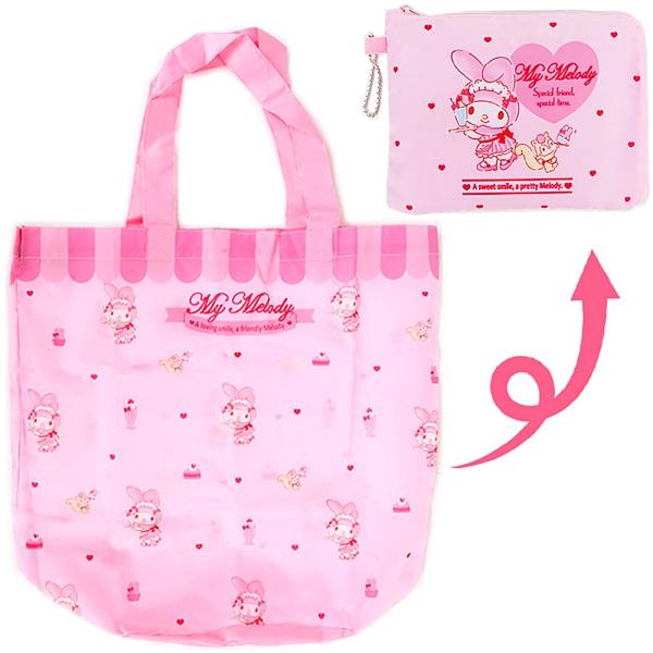 Sanrio 可折疊環保購物袋 附收納袋 美樂蒂 咖啡廳店員 粉_325252N