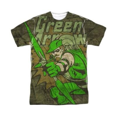 Tシャツ ディーシーコミックス Green Arrow Take Aim DC Comics Sublimation Licensed Adult T Shirt