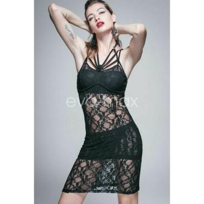 ドレス ゴシック パンク セクシー  New Gothic Sexy Long Lace Summer Party Dresses Women Transparent Club Punk Dress