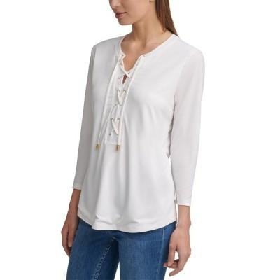カルバンクライン カットソー トップス レディース Solid 3/4-Sleeve Lace-Up Top Soft White