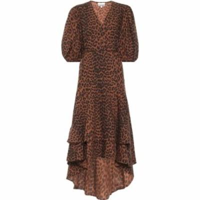 ガニー Ganni レディース ワンピース ラップドレス ワンピース・ドレス Leopard-Print Cotton Wrap Dress Toffee
