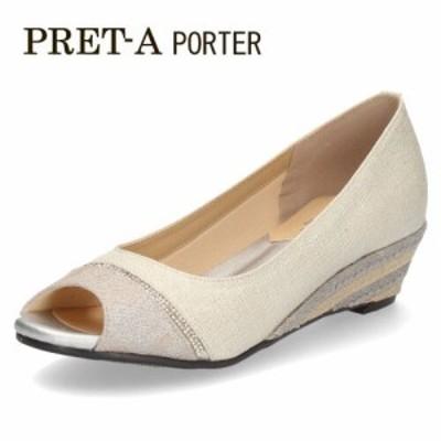 パンプス サンダル レディース プレタポルテ PRET-A PORTER 9313 オープントゥパンプス 白 オフホワイト ウエッジヒール ウエッジソール