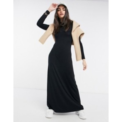 エイソス レディース ワンピース トップス ASOS DESIGN high neck long sleeve maxi dress in black Black