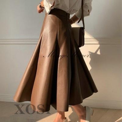 XOSI レザースカート ボトムス ロング フレアスカート Aライン スカート レディース 革スカート フレアスカート膝丈 ボトムス 通勤着痩せ