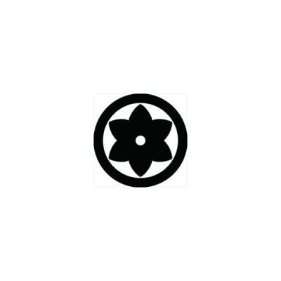 家紋シール 石持ち地抜き梔子紋 直径10cm 丸型 白紋 2枚セット KS10M-2049W