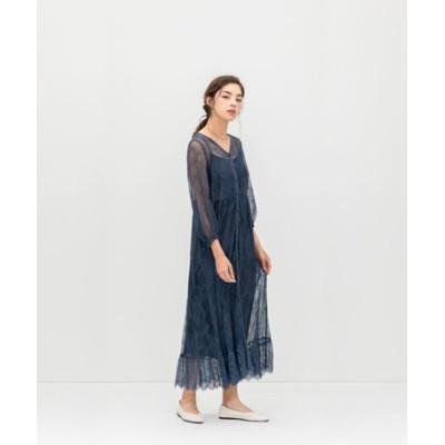 フロントボタンレースドレス