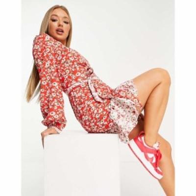 チチロンドン Chi Chi London レディース ワンピース ワンピース・ドレス flippy ditsy floral print mini dress in red レッド