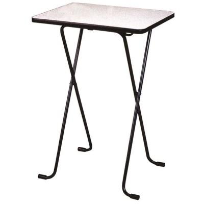シンプル 折りたたみテーブル 〔ハイタイプ 幅60cm〕 ニューグレー×ブラック 日本製 メラミン天板付き 〔リビング ダイニング〕〔代引不可〕