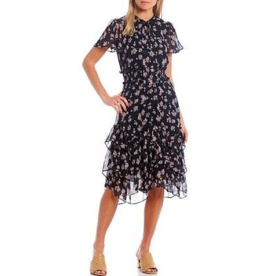 カール ラガーフェルド レディース ワンピース トップス Floral Printed Chiffon Short Sleeve Dress
