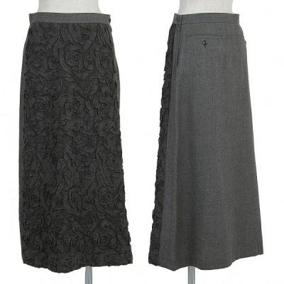 トリココムデギャルソンtricot COMME des GARCONS フロントテープデザインスカート 濃淡グレーM 【レディース】