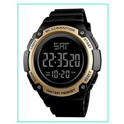 【新品】Mens Outdoor Sport Watches Luxury Brand Men LED Digital Watch Waterproof Date Clock Large Dial Military Wristwatch (Gold)(並行輸入