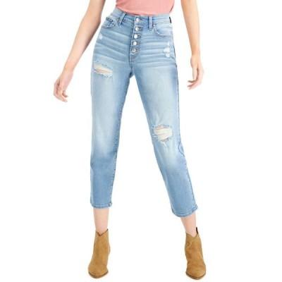 セレブリティピンク レディース デニムパンツ ボトムス Juniors' Distressed Button-Fly Straight-Leg Jeans
