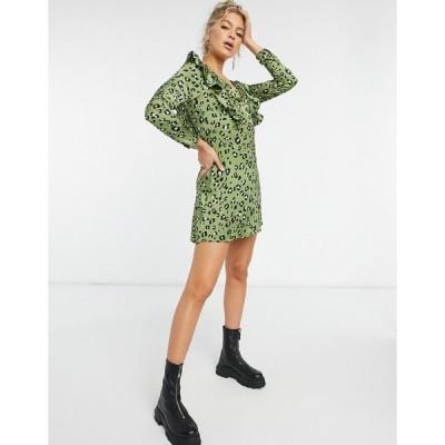ナナ ミディドレス レディース NaaNaa plunge ruffle detail long sleeve dress in green leopard  エイソス ASOS sale カーキ