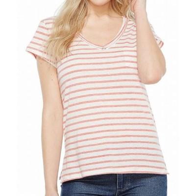 レディース 衣類 トップス Womens Top White Medium Striped V-neck M ブラウス&シャツ