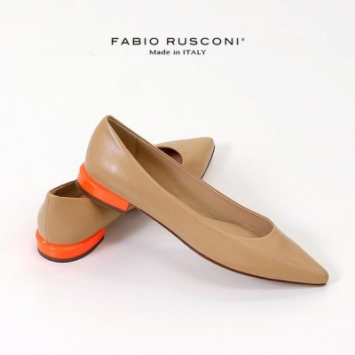 ファビオルスコーニ FABIO RUSCONI 11106 パンプス 靴 ローヒール ベージュ デザインヒール ぺたんこ 本革 イタリア