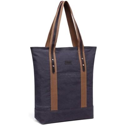 トートバッグ キャンバス,VASCHY 本革 レディース バッグおしゃれ 大容量 通勤 通学 買い物バッグ ファスナー付き グレー