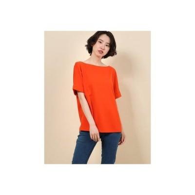 リネーム Rename 袖口折り返しデザイン半袖カットソー (オレンジ)
