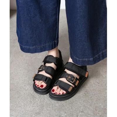 Shoes in Closet -シュークロ- / ☆超軽量☆ゴールドバックルベルクロスポーツ厚底サンダル《約4.0㎝ソール》 7549WB WOMEN シューズ > サンダル