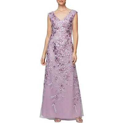 アレックスイブニングス レディース ワンピース トップス V-Neck Sleeveless Floral Embroidered A-Line Gown