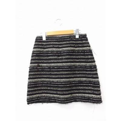 【中古】クイーンズコート QUEENS COURT スカート 台形スカート ミニ ジップ ボーダー 2 ブラック 黒 /KT17