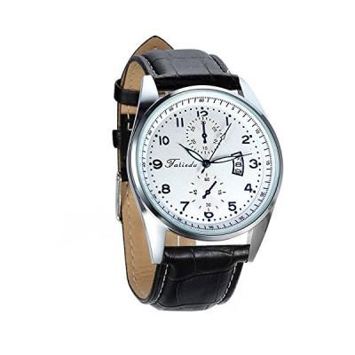 並行輸入品avanerメンズファッションカジュアルクォーツ自動日付アラビア数字アナログ腕時計ブラックレザーストラップ
