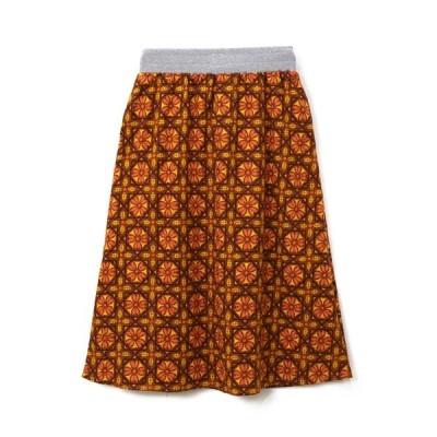 スカート 総柄Ptウエストリブフレアスカート W