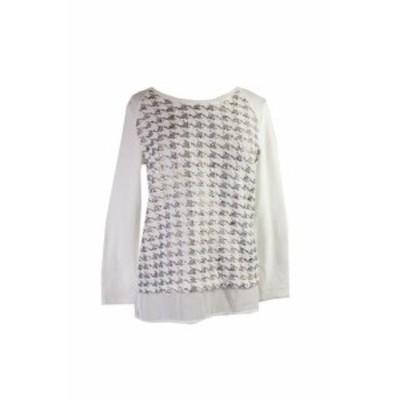 ファッション トップス Style & Co. White Textured Metallic Sweater PM