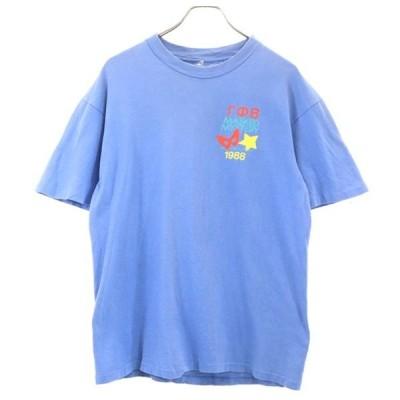 80s プリント 半袖 Tシャツ ブルー  ヴィンテージ メンズ 古着 200427 メール便可