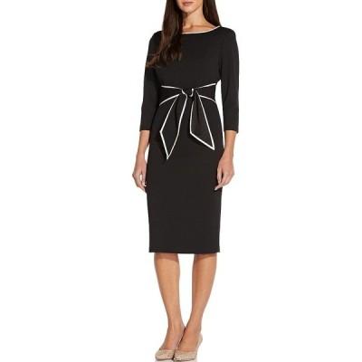 アドリアナ パペル レディース ワンピース トップス Contrast Trim Tie Waist Crepe Midi Dress BLACK/IVORY