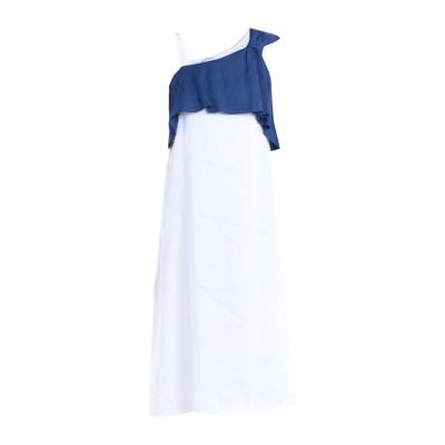 LFDL 7分丈ワンピース・ドレス ブルー S 麻 65% / レーヨン 33% / ポリウレタン 2% 7分丈ワンピース・ドレス