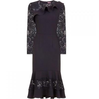 チチ Chi Chi レディース パーティードレス ミドル丈 ワンピース・ドレス Crochet Peplum Hem Midi Dress Black