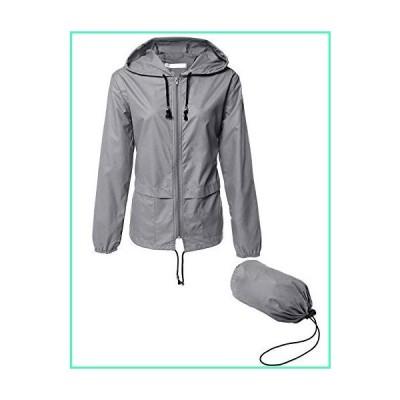 LOMON Women's Lightweight Hooded Raincoat Waterproof Packable Active Outdoor Rain Jacket Grey XXL並行輸入品