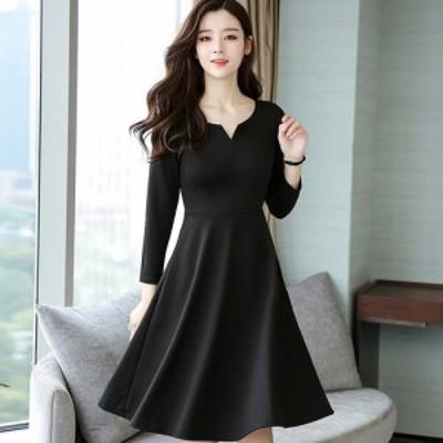 シンプルAラインミディアムドレス(ブラック)パーティドレス 結婚式 二次会 お呼ばれ 春夏