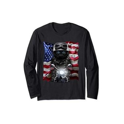 黒ペルシャ猫 ねこ バイク 星条旗 アメリカ 長袖Tシャツ