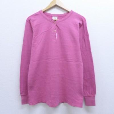 古着 レディース 長袖 ビンテージ サーマル Tシャツ 80年代 80s 無地 コットン ヘンリーネック USA製 ピンク 中古 Tシャツ 古着