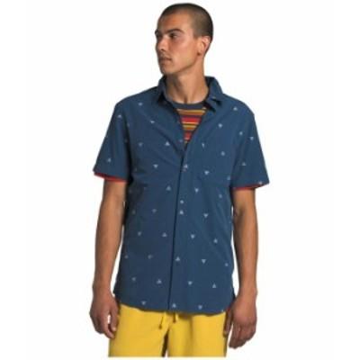 ノースフェイス メンズ シャツ トップス Short Sleeve Baytrail Jacquard Shirt Shady Blue Arrowhead Jacquard