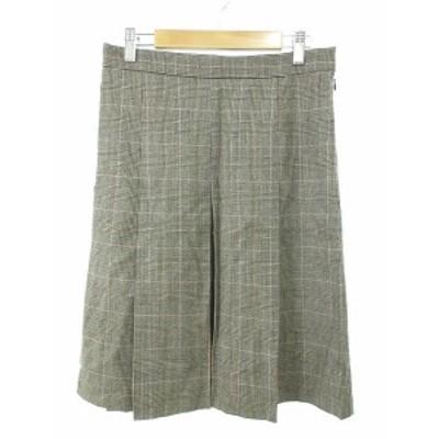 【中古】ジルスチュアート JILL STUART スカート ひざ丈 プリーツ ウール チェック 2 茶 ブラウン /M2S レディース