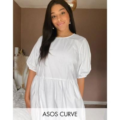 エイソス レディース ワンピース トップス ASOS DESIGN Curve tiered cotton poplin smock midi dress in white