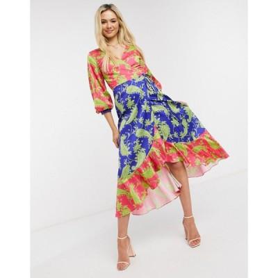 リカリッシュ ミディドレス レディース Liquorish midi wrap dress in contrasting colours paisley print  エイソス ASOS sale