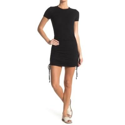 ケネディク レディース ワンピース トップス Ruched Side Tie Short Sleeve Mini Dress BLACK