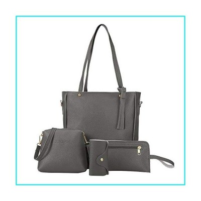 AKIWOS 4PC Tote Handbag Sets for Women Fashion Shoulder Bags Practical Satchel Purse and Handbags【並行輸入品】