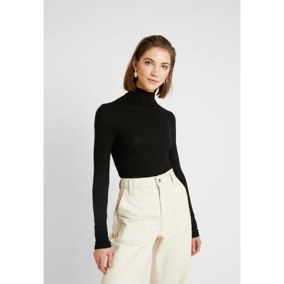 ピーシーズ カットソー レディース トップス PCKAROLINE ROLLNECK - Long sleeved top - black
