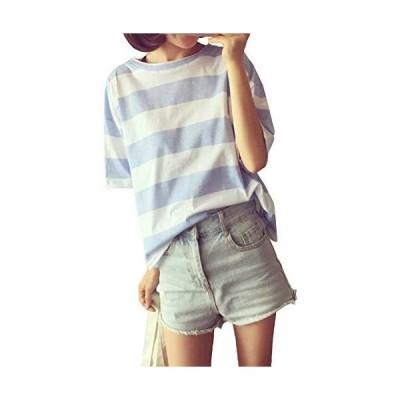 [シュバリアン] 半袖 ゆったり ボーダー Tシャツ カットソー レディース    XL    ライトブルー