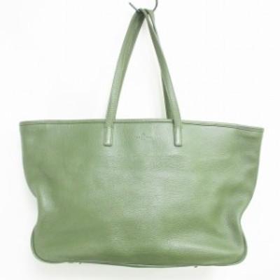 【中古】ペッレモルビダ PELLE MORBIDA トートバッグ ショルダーバッグ レザー グリーン 緑 IBS60 0628 メンズ